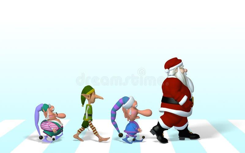 Santa y su equipo en el camino de la abadía libre illustration