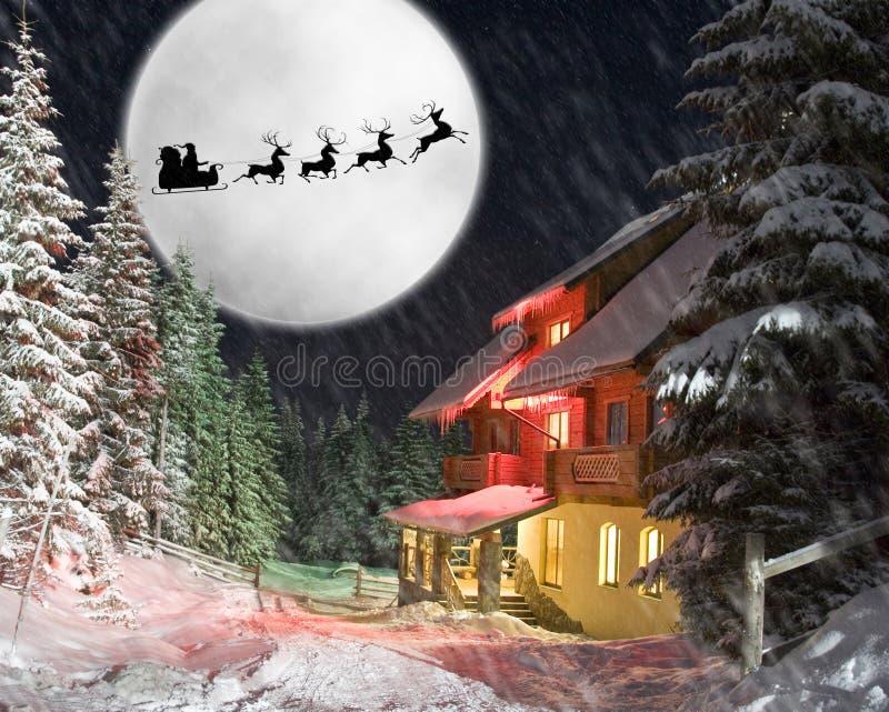 Santa y sus renos que montan contra la luna stock de ilustración