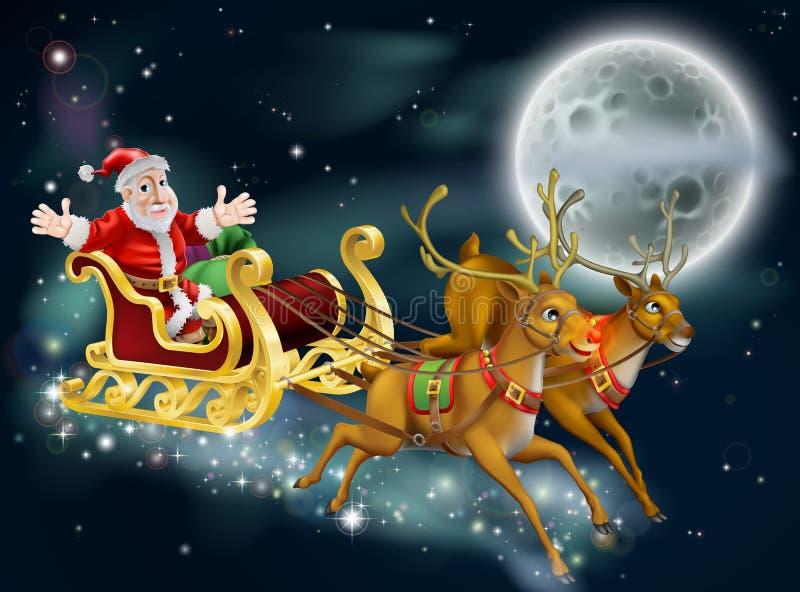 Santa y trineo ilustración del vector