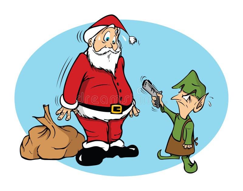Santa y un duende malvado ilustración del vector