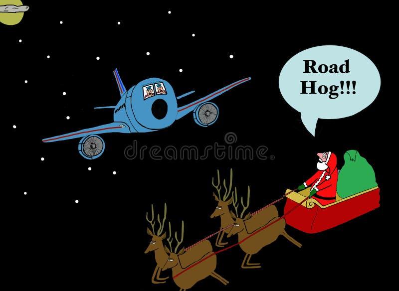 Santa Yells 'Wegvarken'! stock illustratie