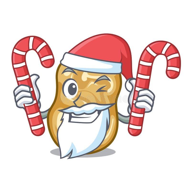 Santa z cukierek rodzynkami nad drewniany kreskówka stół ilustracji
