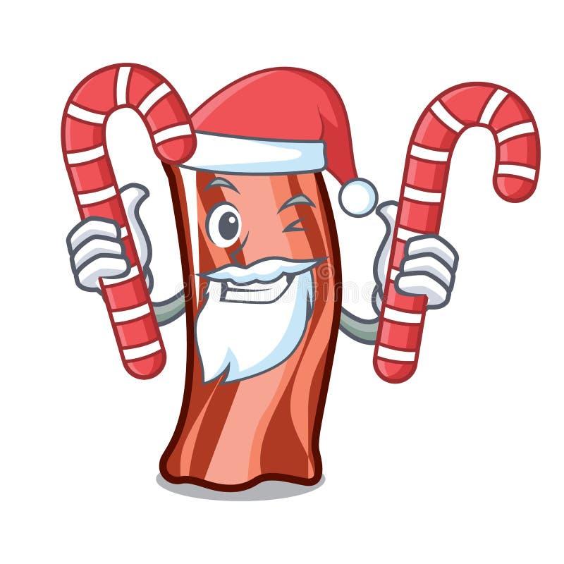 Santa z cukierkiem żebruje maskotki kreskówki styl ilustracji
