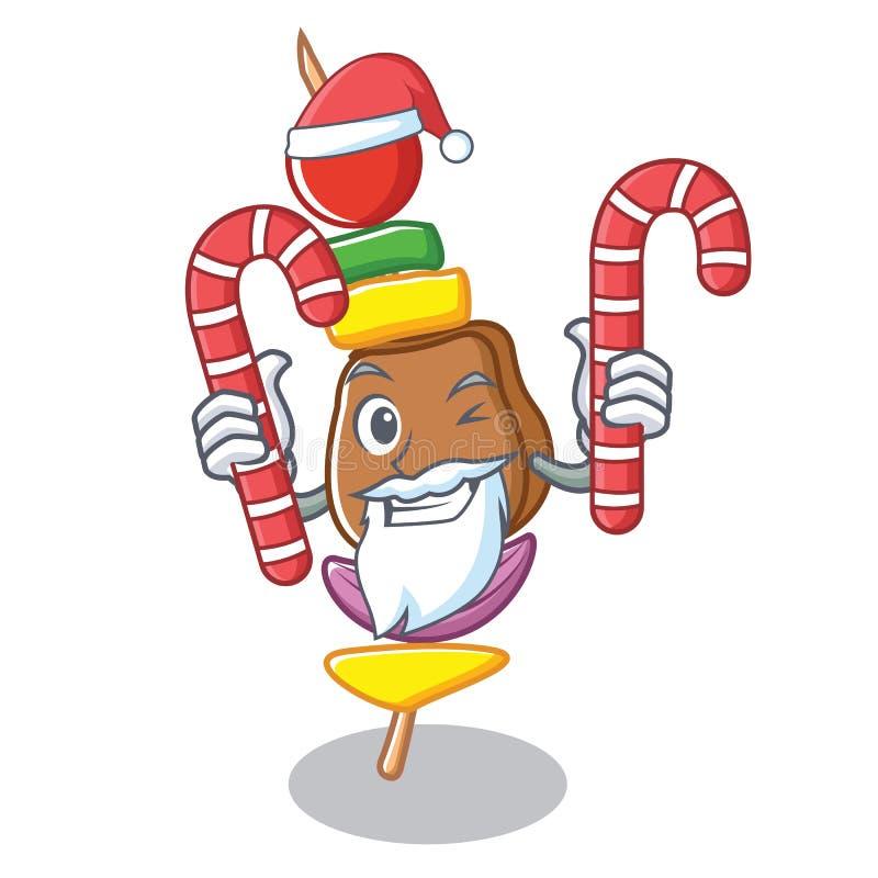 Santa z cukierku grilla charakteru kreskówki stylem ilustracji