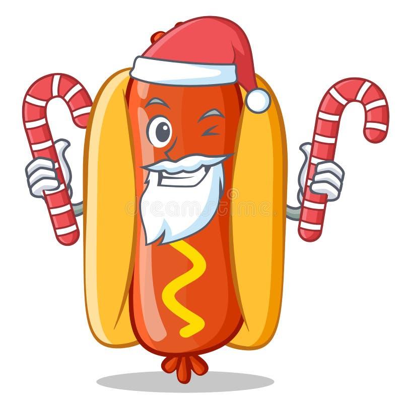 Santa Z cukierku hot dog postać z kreskówki ilustracja wektor