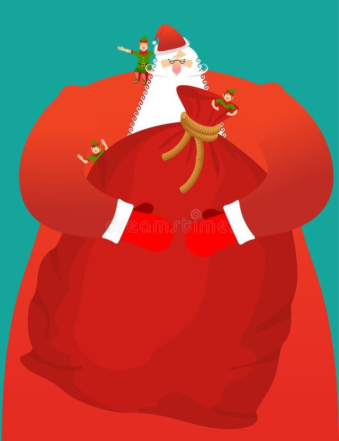 Santa z dużą torbą prezenty Rewolucjonistka worek z zabawkami i cukierkami Chri ilustracji