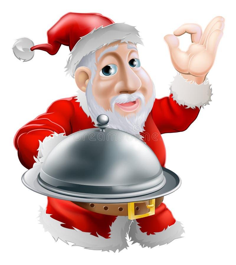 Santa z jedzeniem ilustracja wektor