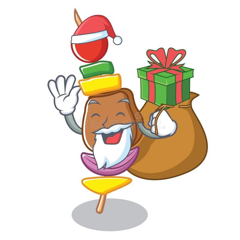 Santa z prezenta grilla charakteru kreskówki stylem royalty ilustracja