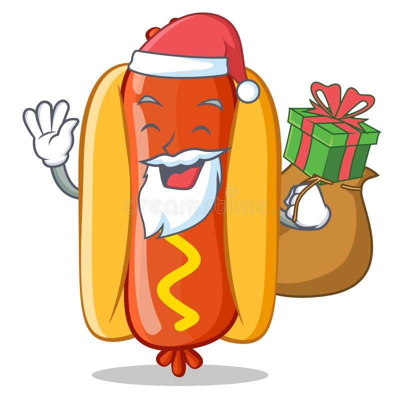 Santa Z prezenta hot dog postać z kreskówki royalty ilustracja