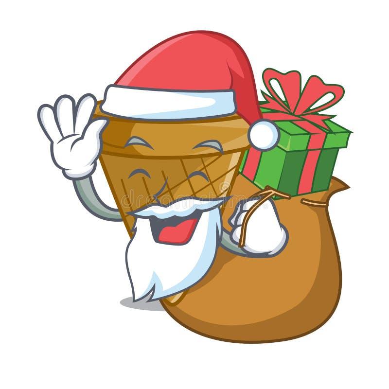 Santa z prezenta opłatka słodkim rożkiem odizolowywającym na maskot ilustracja wektor