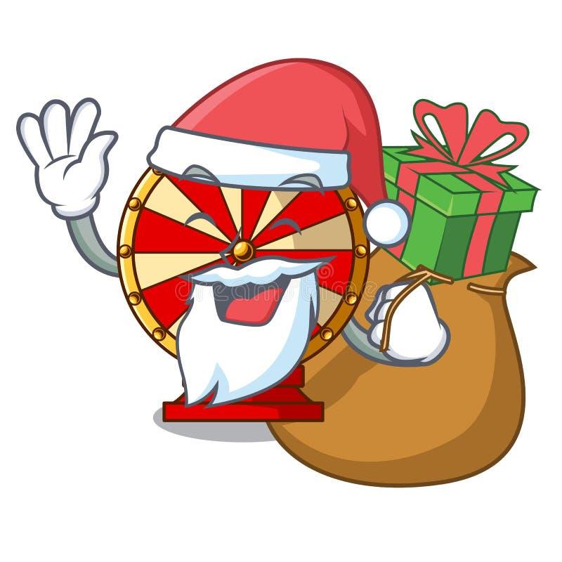 Santa z prezenta przędzalnianym kołem dołączał kreskówki ścianę ilustracji