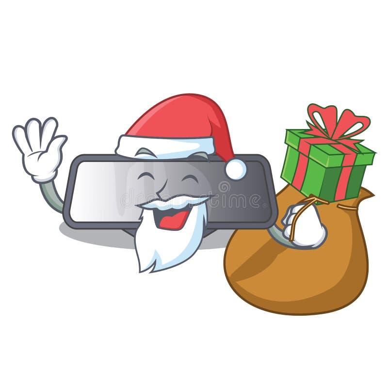 Santa z prezenta tylni widoku lustra miniatura kształta charakterem ilustracja wektor