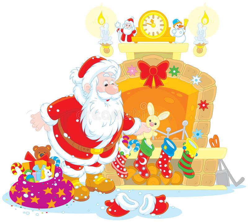 Santa z prezentami royalty ilustracja