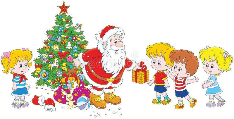 Santa z prezentami dla dzieci ilustracja wektor