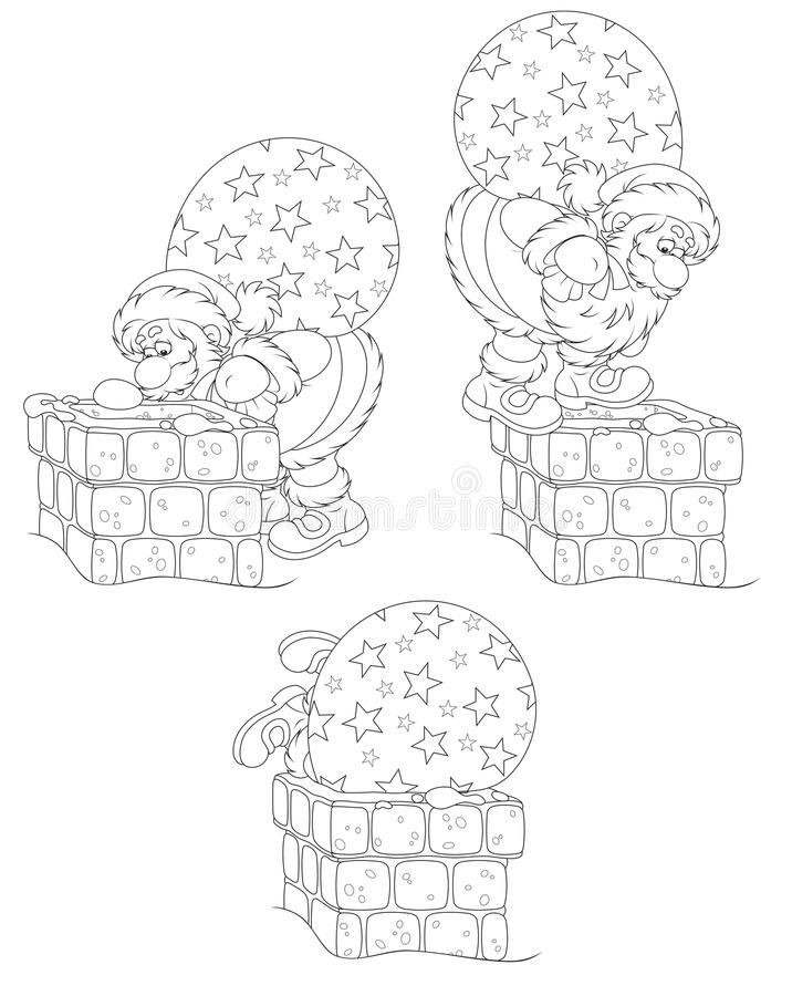 Santa z prezentami i kominem ilustracja wektor