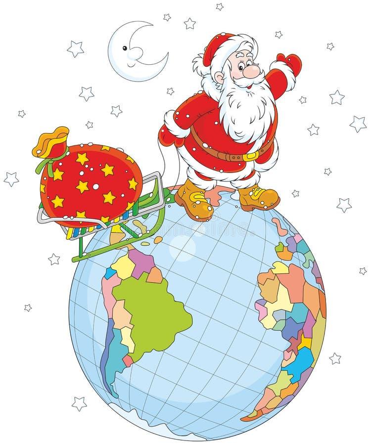 Santa z prezentami na kuli ziemskiej ilustracja wektor