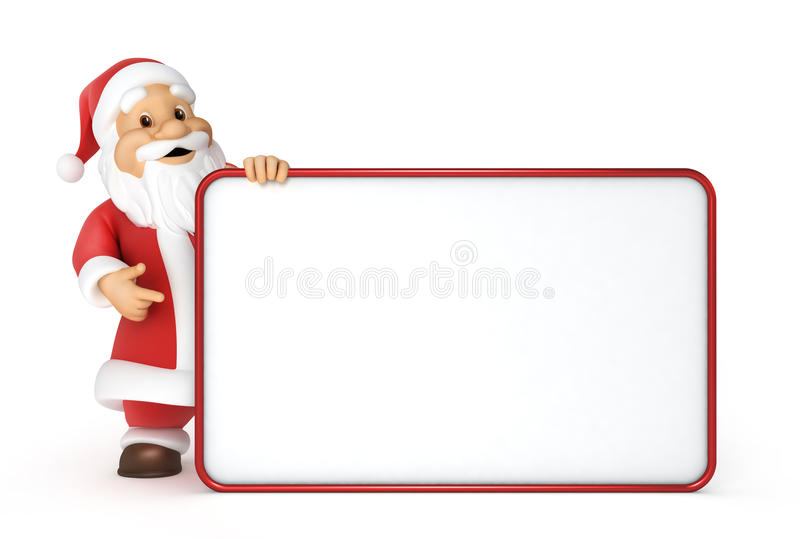 Santa z pustym billboardem Claus royalty ilustracja