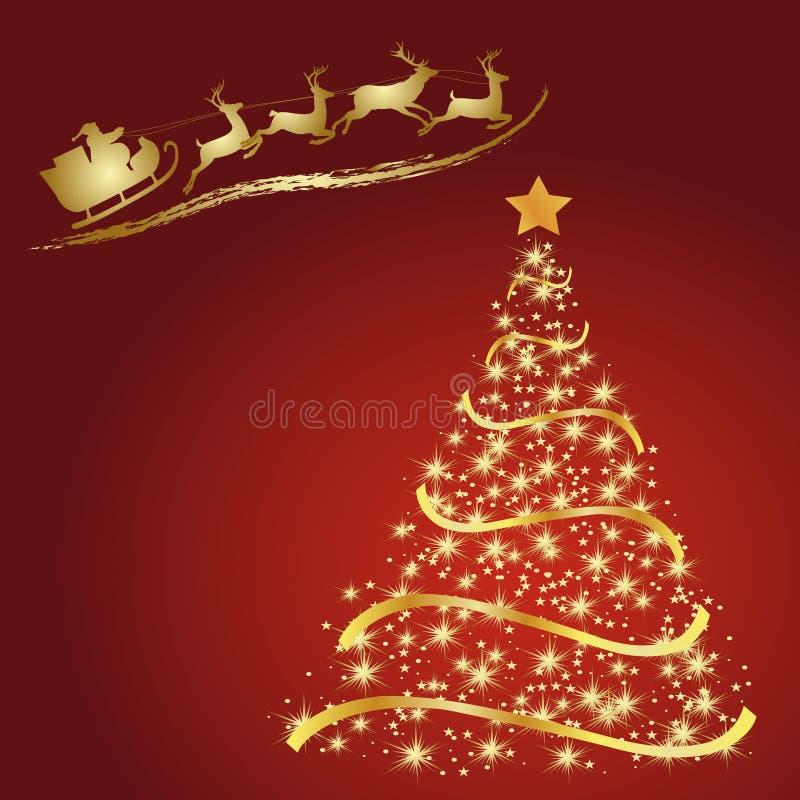 Santa z reniferem, Złota jodła na czerwieni royalty ilustracja