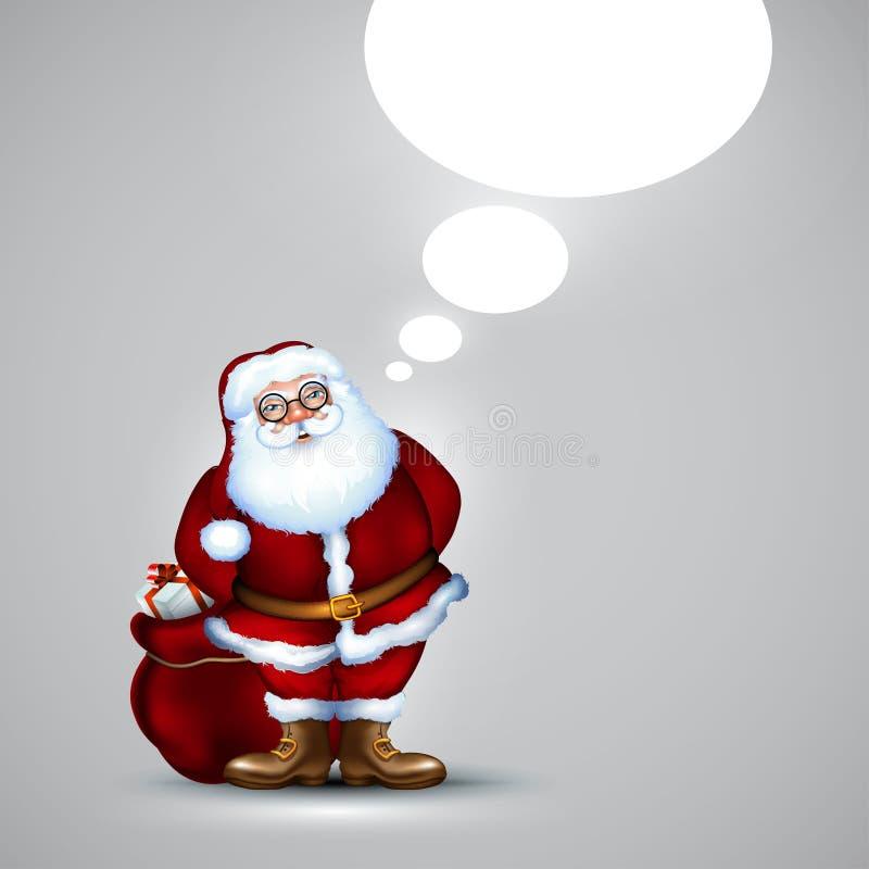 Santa z workowymi bożymi narodzeniami royalty ilustracja