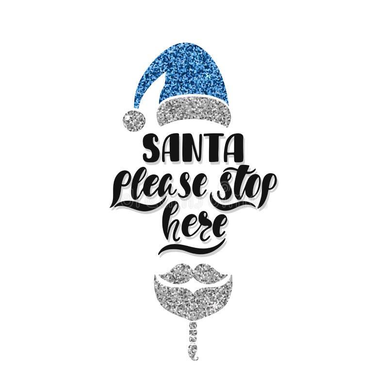 Santa zadawala przerwę tutaj Ręka rysujący kaligrafia tekst Wakacyjny typografia projekt z Santa Claus Czarna i srebna kartka boż royalty ilustracja