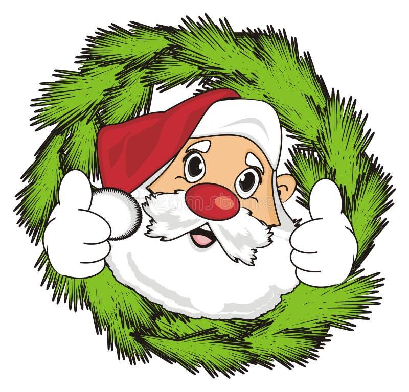 Santa zerknięcie up od wianku ilustracja wektor