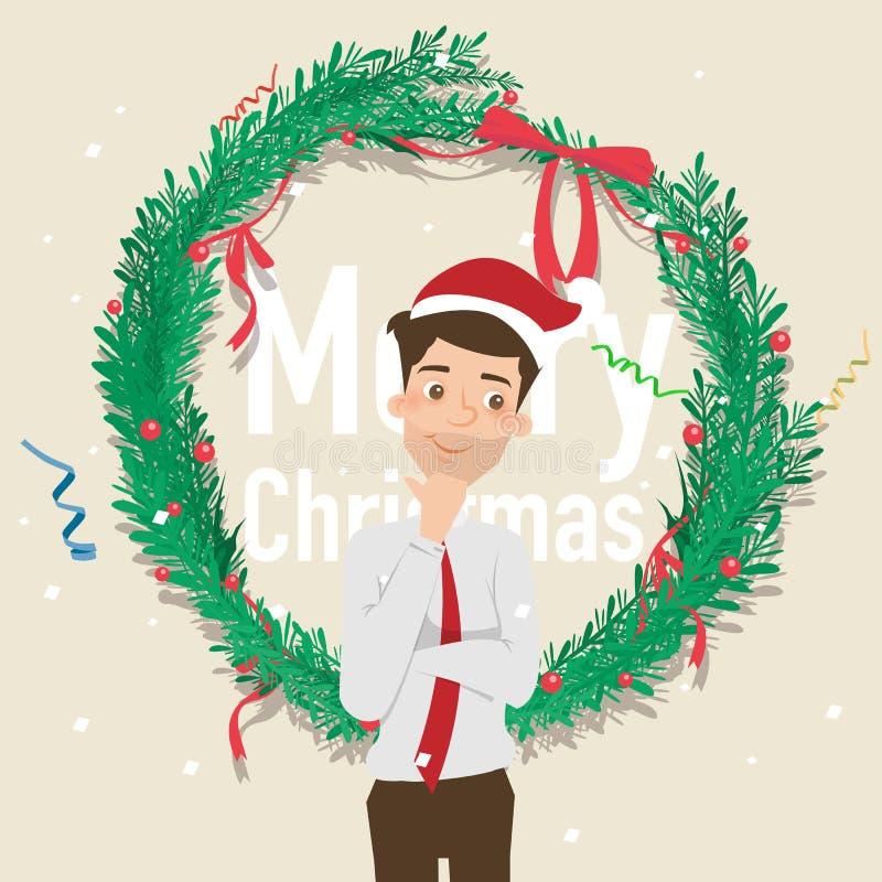 Santahoed van de zakenmanslijtage met Kerstmisachtergrond vector illustratie