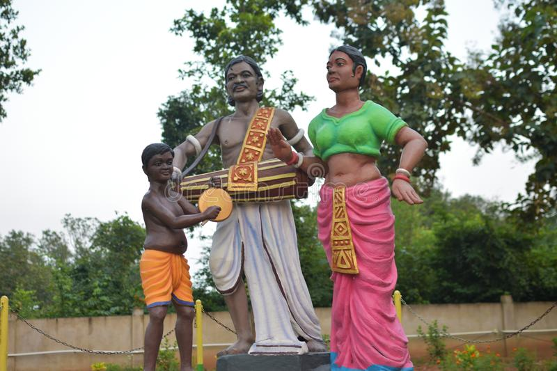 A Santal & x28;a tribe in India& x29; Family sculpture or statue in a garden named Crish Garden. Jhargram, india - October 14, 2019: a Santal & x28;a tribe in royalty free stock image