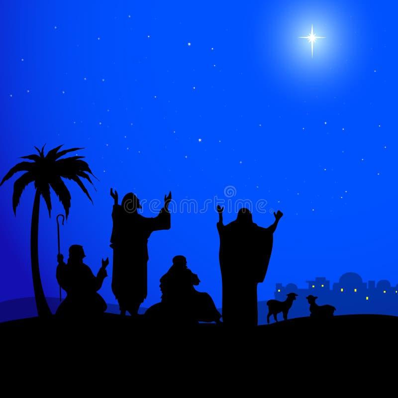 Santamente protagonizar no Bethlehem-vetor ilustração stock