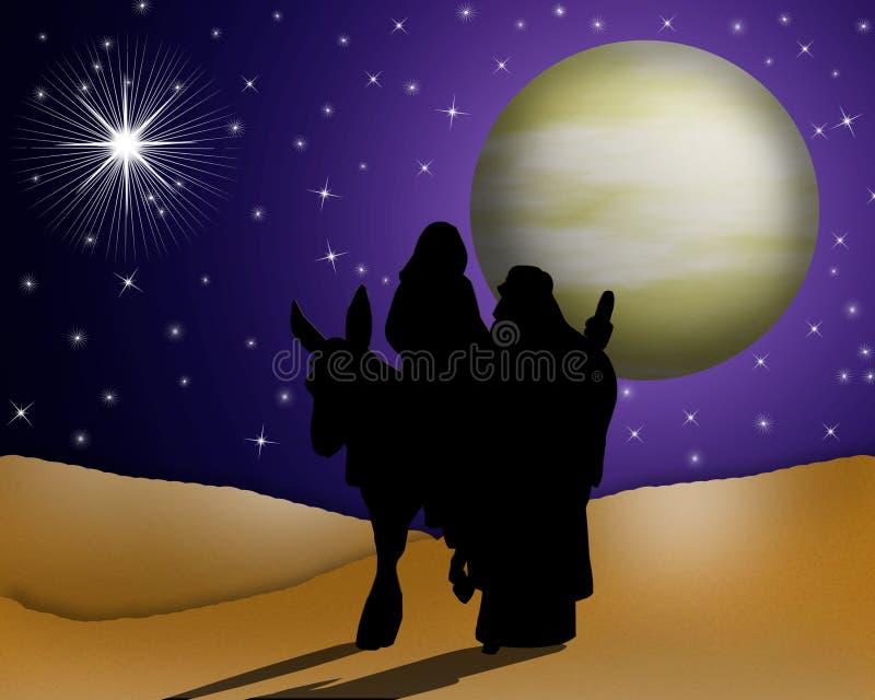 Santamente religioso do cartão de Natal ilustração do vetor