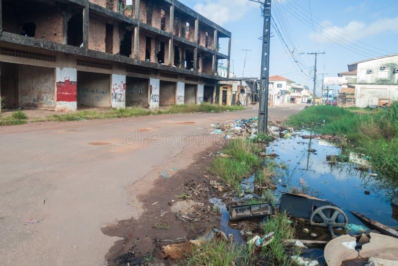 SANTANA, BRAZIL - JUNE 31, 2015: Grungy area of Santana town near Macapa, Braz royalty free stock photo