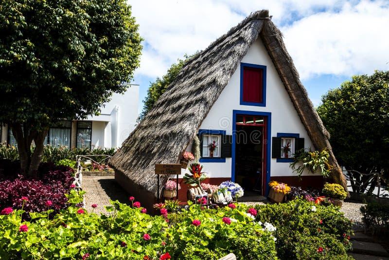Santana w maderze jest pięknym wioską na północnym wybrzeżu zna swój małymi pokrywającymi strzechą trójgraniastymi domami zdjęcie royalty free