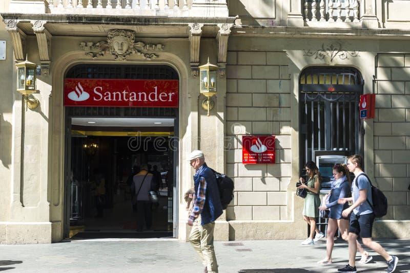 Santander bankfilial i Barcelona arkivfoto
