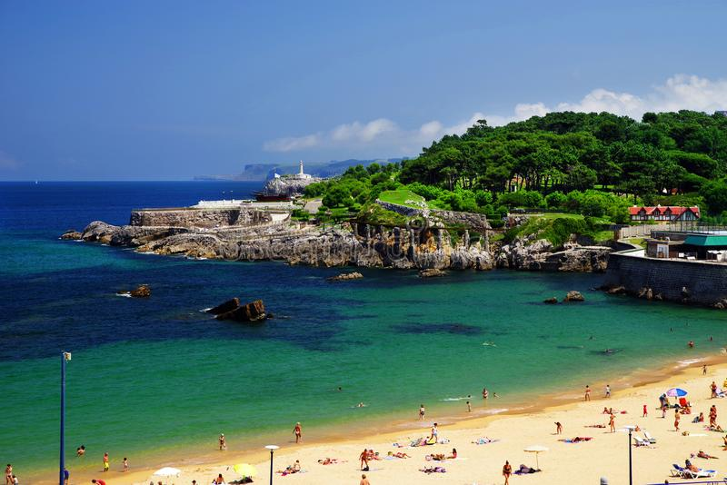 Santander city witj Sardinero beach and Mouro Island Lighthouse or Faro De La Isla De Mouro in background. Cantabria is a beatiful region on the Bay of Biscay stock photo
