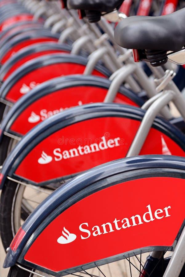 Santander Cycle Hire Boris Bikes at a Docking Station, London, UK royalty free stock images