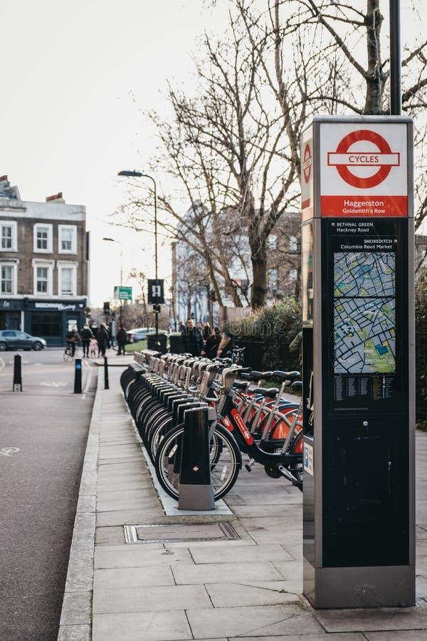 Santander cycles docking station in Haggerston, London, UK royalty free stock image
