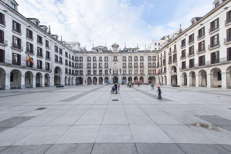 Santander, la Cantabrie, Espagne 25 octobre 2015 : place arcadée photo libre de droits