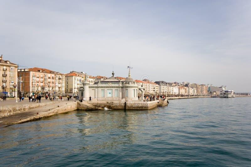 Santander,  Walk At Edge Of The Sea Royalty Free Stock Photos
