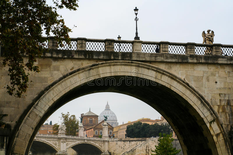 Santangelo Bridge with Vatican city, Rome, Italy stock images
