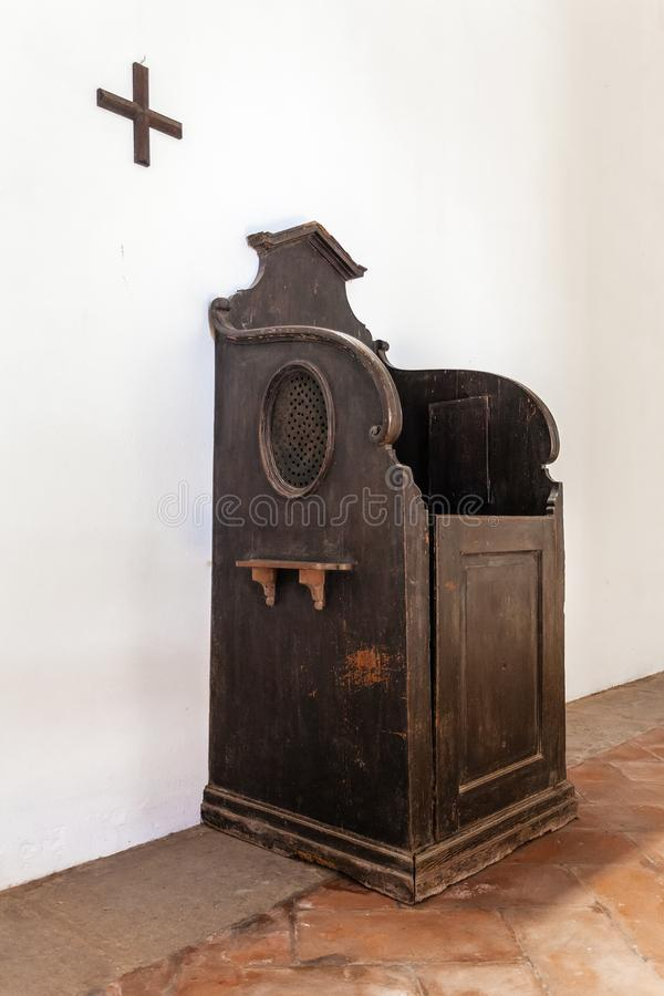 Santarem, Portugal - Confessional booth or box royalty free stock image