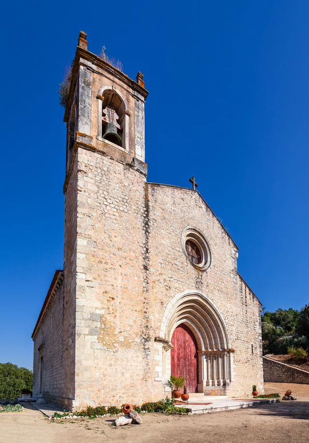 Santarem, Portugal. Facade with gothic portal and bell tower or belfry of the Igreja de Santa Cruz Church royalty free stock images