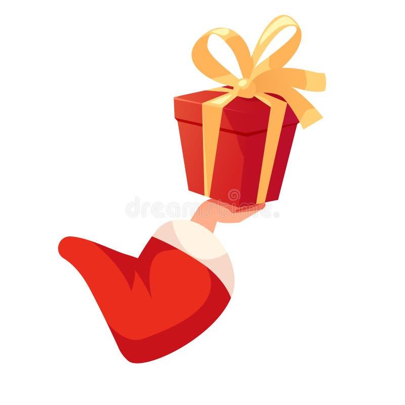 Santas вручают держать подарочную коробку иллюстрация штока