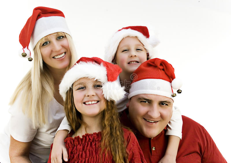 Santas 1. Young family with gifts at christmas stock photography
