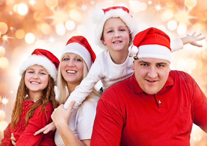 Santas 15. Sweet family with santa-dresses stock images