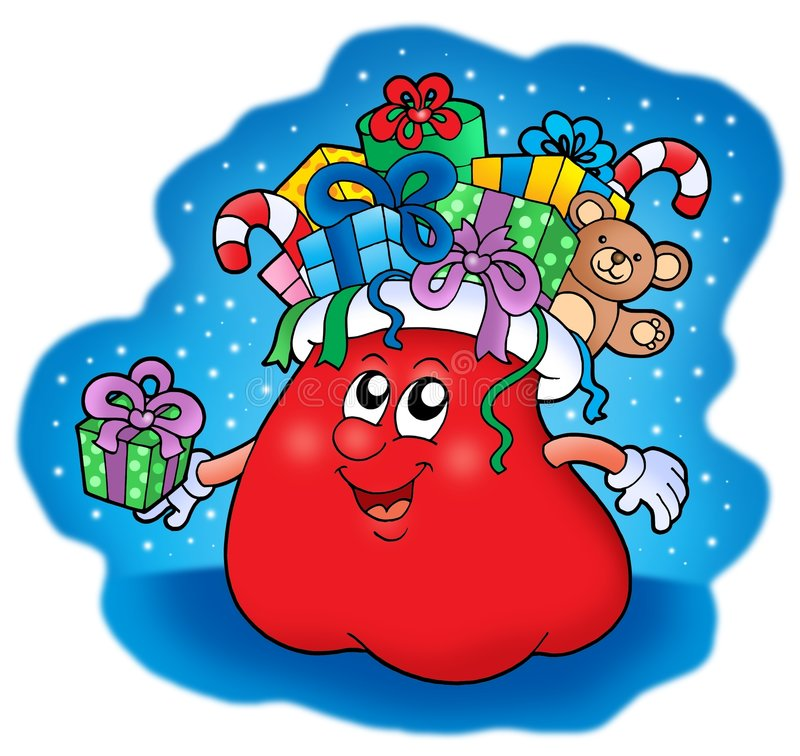 Download Santas bag with gifts stock illustration. Image of cute - 7130340