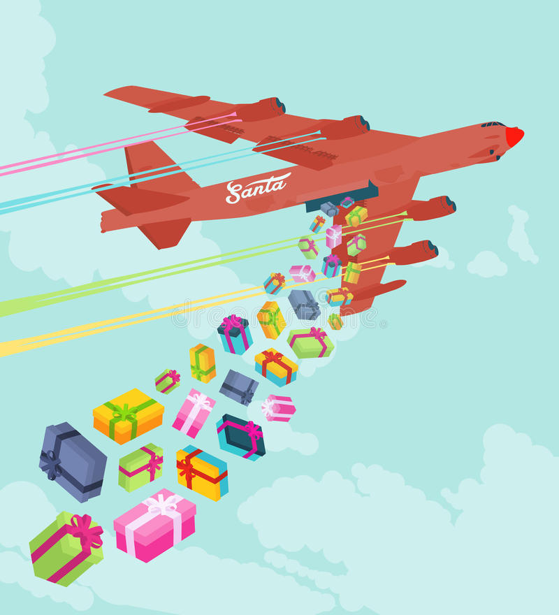 Santas bombplan som tappar gåvorna royaltyfri illustrationer