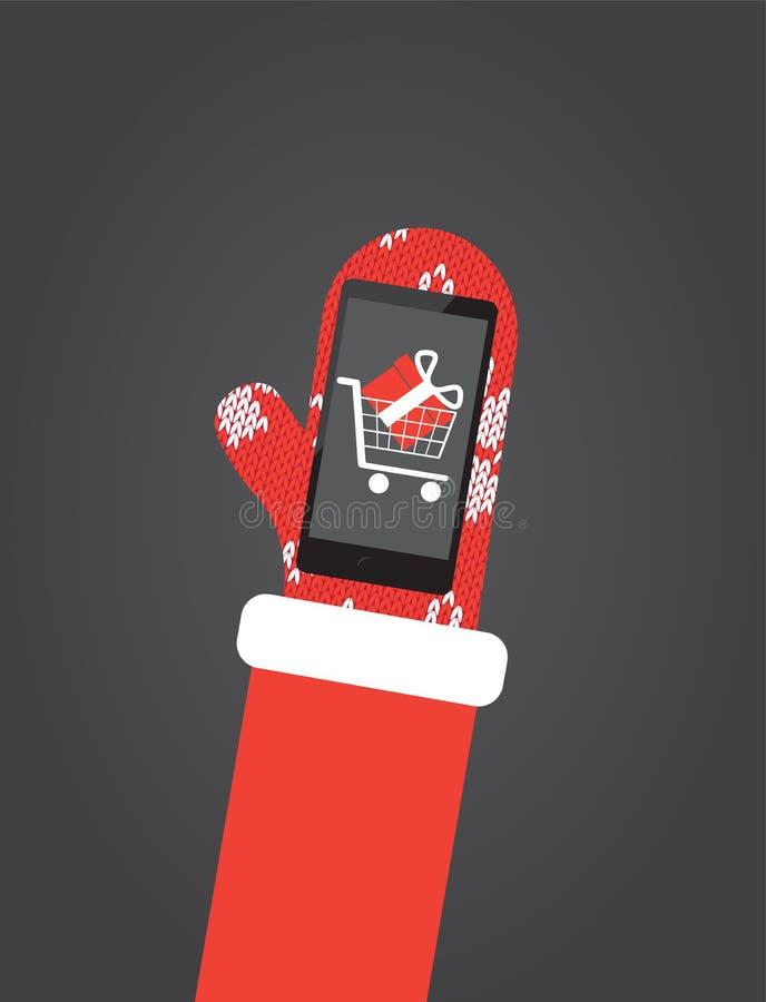 Santas dan en smartphone del control de las manoplas con el app que hace compras libre illustration