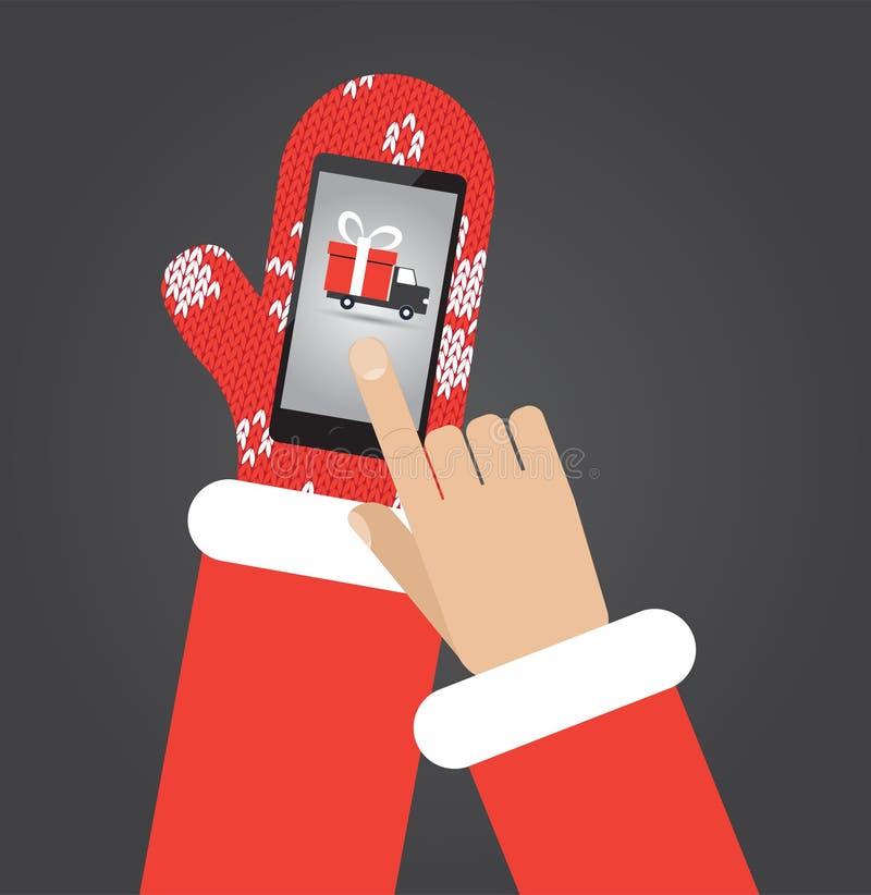 Santas dan en smartphone del control de las manoplas con el app que hace compras ilustración del vector