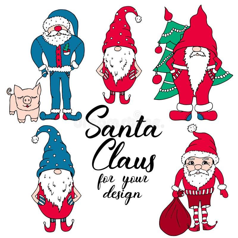 Santas i röda och blåa färger vektor illustrationer