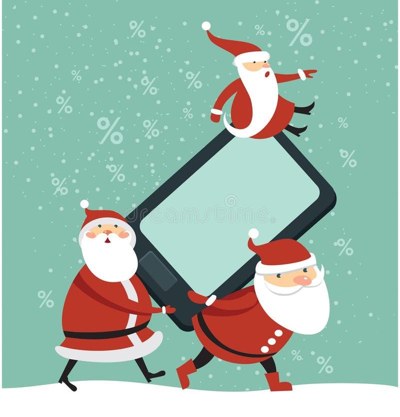 Santas med den enorma smartphonen royaltyfri illustrationer