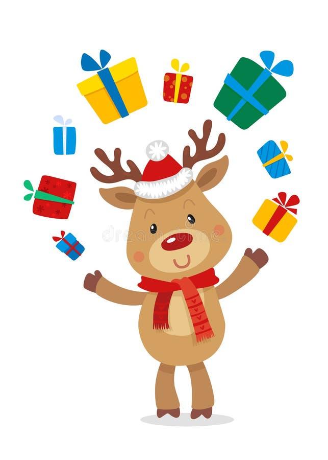 Santas Reniferowy Rudolph i prezenty Wektorowe ilustracje Odizolowywać na Białym tle Reniferowy Rudolf royalty ilustracja